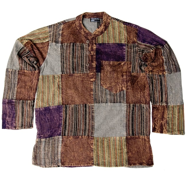 パッチワーク クルタシャツ ストーンウォッシュの深みある風合い 13 - 【選択:1】ブラウン系は、このような感じです