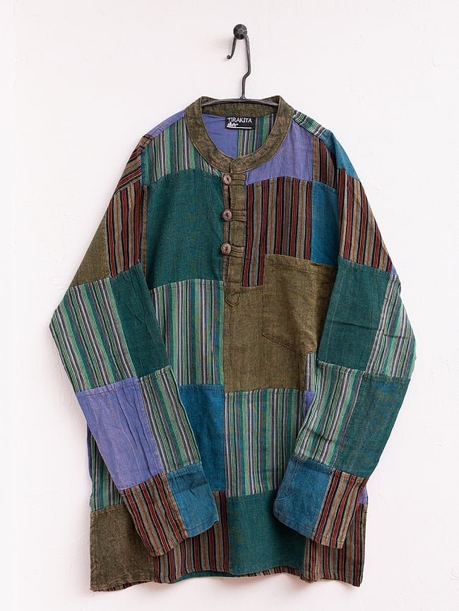 パッチワーク クルタシャツ ストーンウォッシュの深みある風合い 16 - 【選択:4】紫×緑系はこちらです