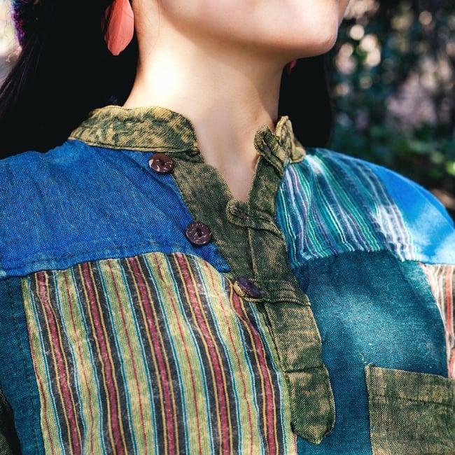 パッチワーク クルタシャツ ストーンウォッシュの深みある風合い 6 - 胸元の写真です