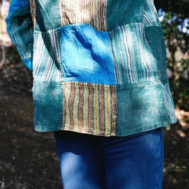 パッチワーク クルタシャツ ストーンウォッシュの深みある風合い 8 - 裾部分の写真です