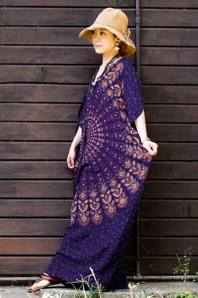 ガラベーヤ風 マンダラ模様のマキシワンピース 10 - デザインD-紫系