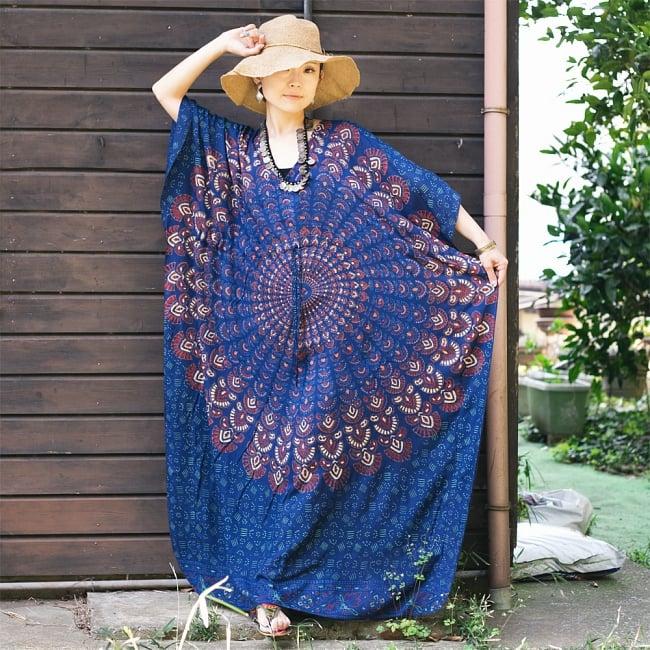 ガラベーヤ風 マンダラ模様のマキシワンピース 2 - マンダラ模様がとても素敵です。身長150cmスタッフの着用例です。