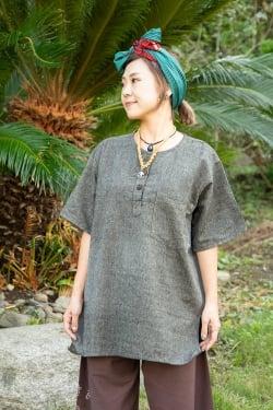半袖シンプルコットンシャツ - グレー