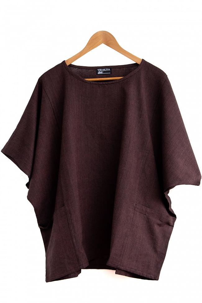 ゆったり着れるシンプルプルオーバー 13 - 選択8:ダークブラウン(黒糸混合)