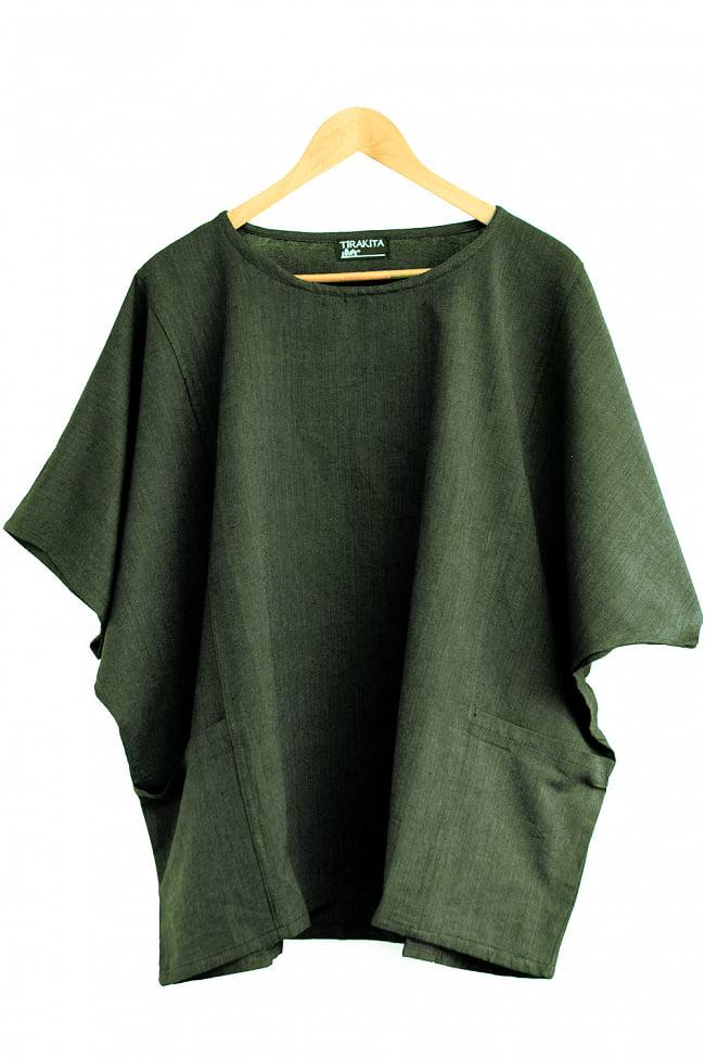 ゆったり着れるシンプルプルオーバー 15 - 選択10:カーキ(黒糸混合)