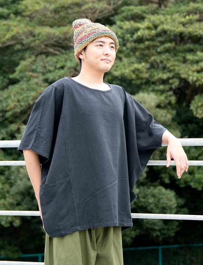 ゆったり着れるシンプルプルオーバー 3 - 身長172cmの男性モデル着用例です。