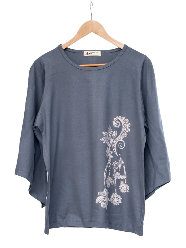ロータスプリントのコットンベルスリーブTシャツ 7 - 選択1:グレー