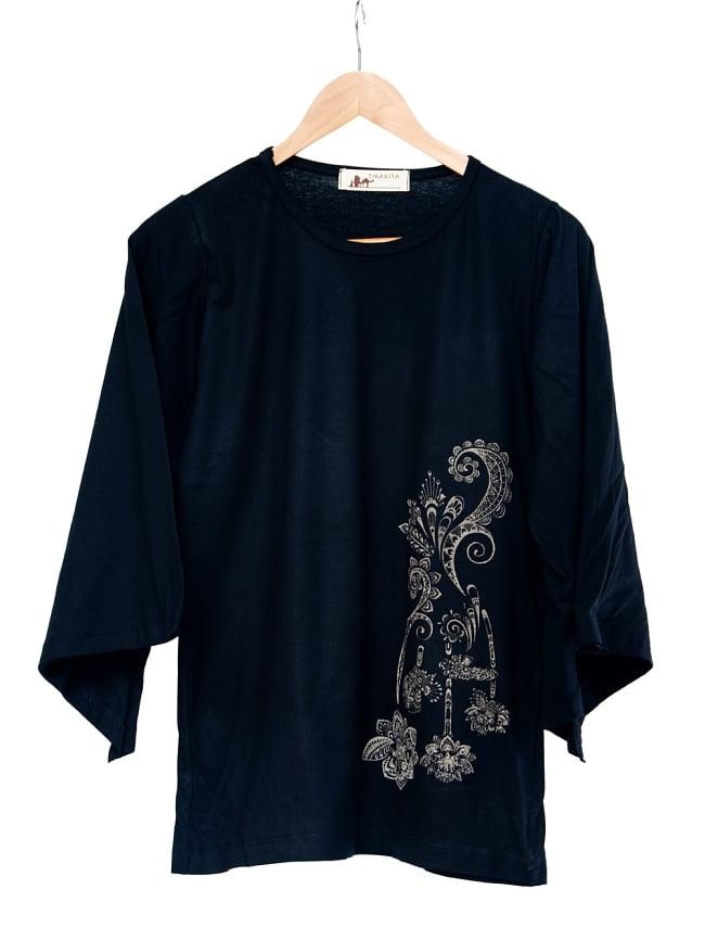 ロータスプリントのコットンベルスリーブTシャツ 8 - 選択2:ブラック