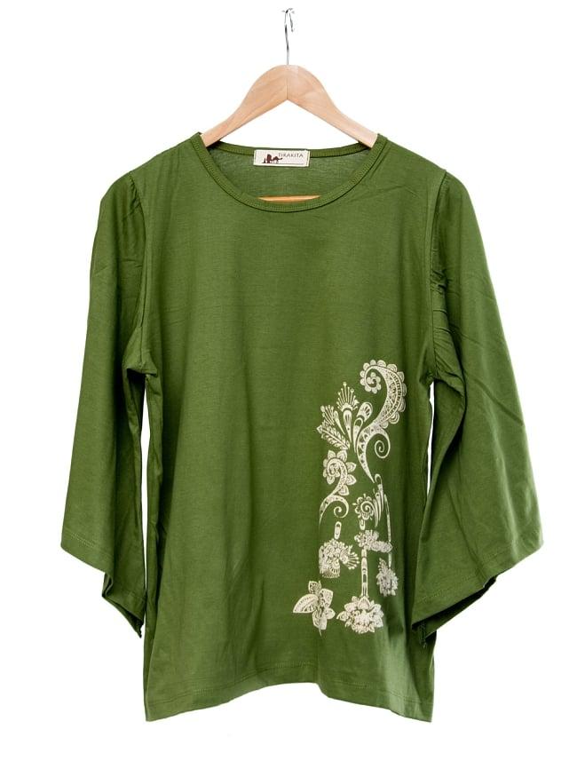 ロータスプリントのコットンベルスリーブTシャツ 9 - 選択3:カーキ