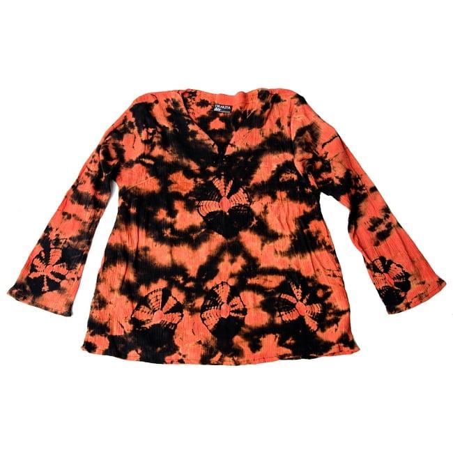クリンクルタイダイブラウス 10 - 2:黒+オレンジ