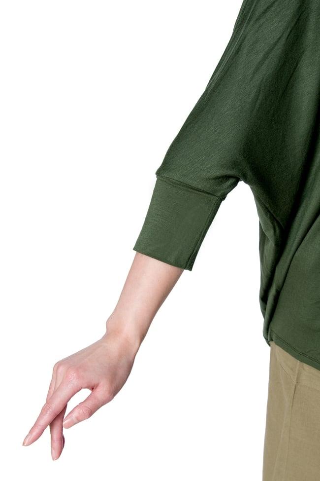 ロータスプリントストレッチ バルーンTシャツ 7 - 7分袖デザインです。