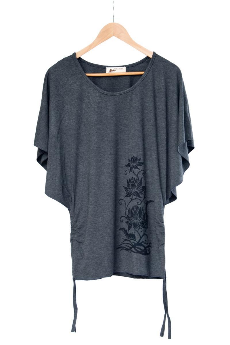ロータスプリントのバタフライスリーブTシャツ 10 - 選択1:グレー
