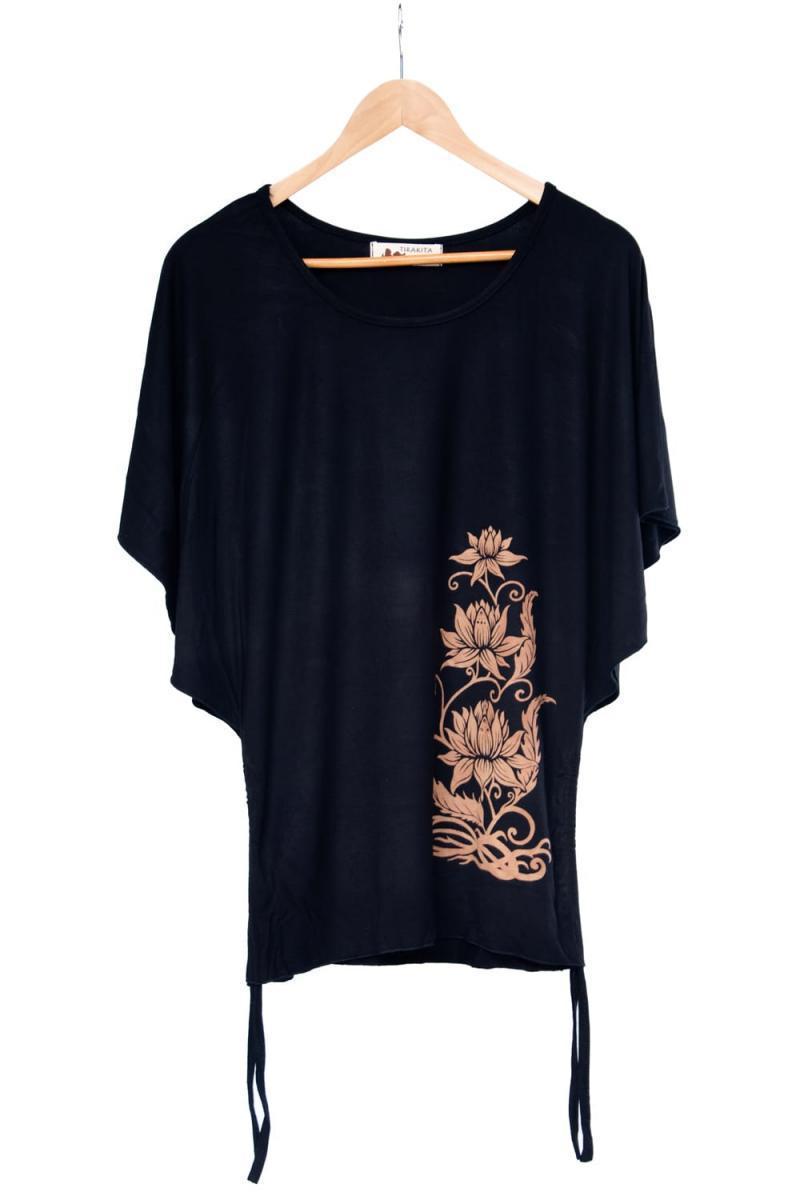 ロータスプリントのバタフライスリーブTシャツ 11 - 選択2:ブラック