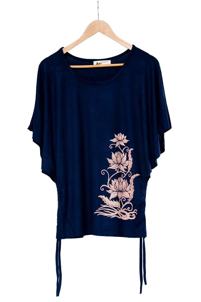 ロータスプリントのバタフライスリーブTシャツ 13 - 選択4:ネイビー