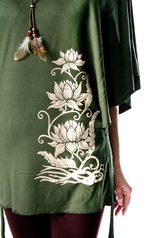 ロータスプリントのバタフライスリーブTシャツ 5 - ロータスプリントがエスニック気分を盛り上げます。