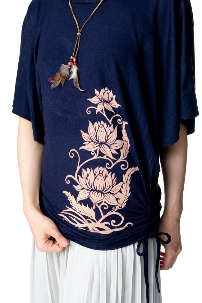 ロータスプリントのバタフライスリーブTシャツ 9 - ロータスプリントがエスニック気分を盛り上げます。
