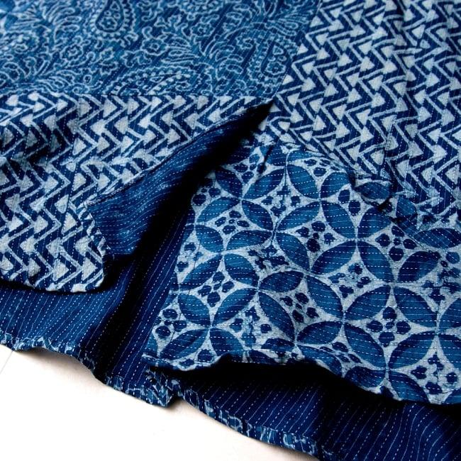 カンタ刺繍の藍染コットンシャツ 12 - フロント部分は切り込みが入って、動きのあるデザインが個性的です。