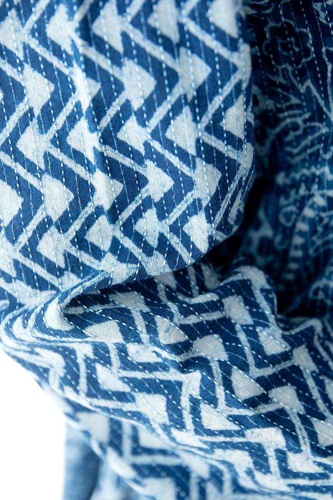 カンタ刺繍の藍染コットンシャツ 6 - カンタ刺繍(刺し子)がとても美しいです。