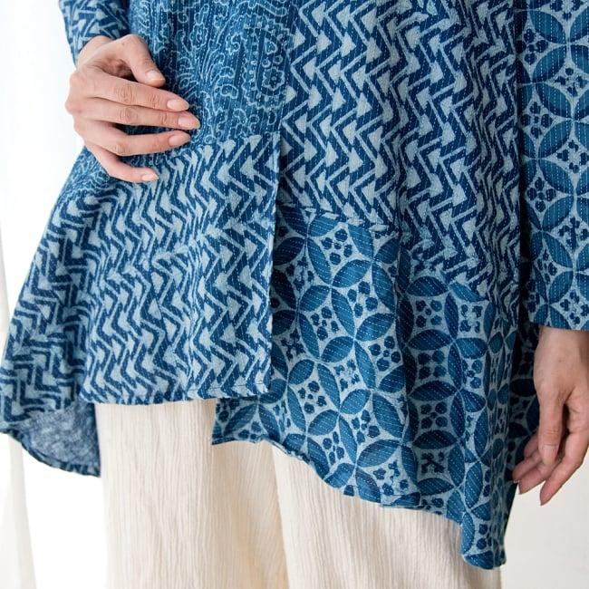 カンタ刺繍の藍染コットンシャツ 8 - 異なる柄を縫い合わせた個性的なデザインです。