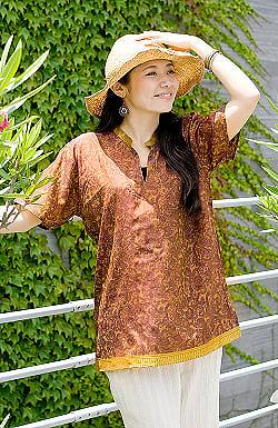 オールドサリーの半袖プルオーバーシャツ - 黄色・オレンジ系の商品写真
