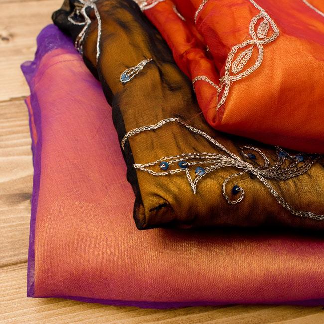 サリー生地サテン巻きスカート-オレンジ系アソート 4 - 選択項目よりお好みのお色をお選び下さい。