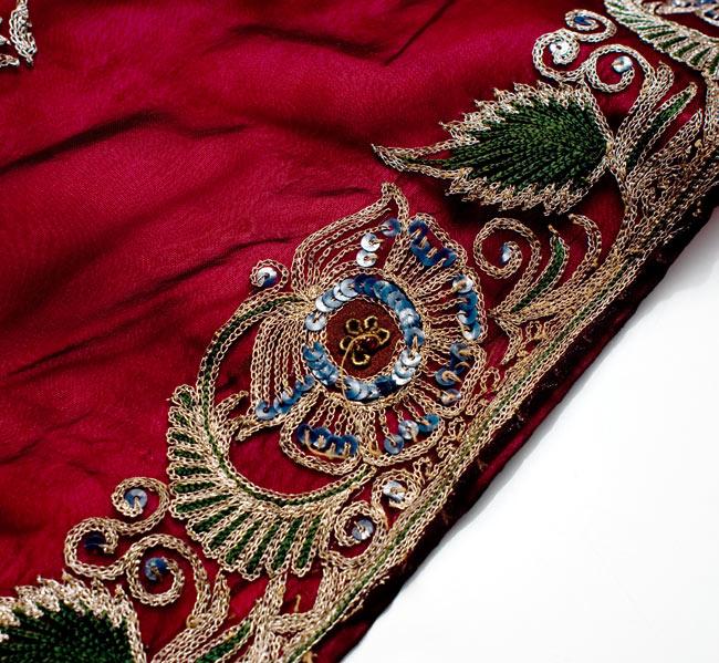 サリー生地サテン巻きスカート-オレンジ系アソート 9 - ゴージャスな刺繍が美しいです。