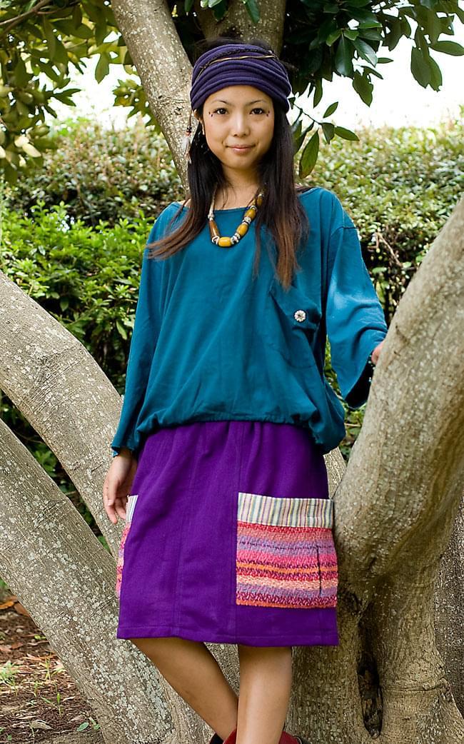 ネパールのカラフルポケットスカートの写真3 - C:パープル