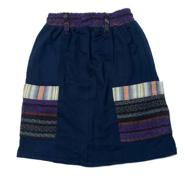 ネパールのカラフルポケットスカート 5 - 広げるとこんな形をしています。 E:ネイビー