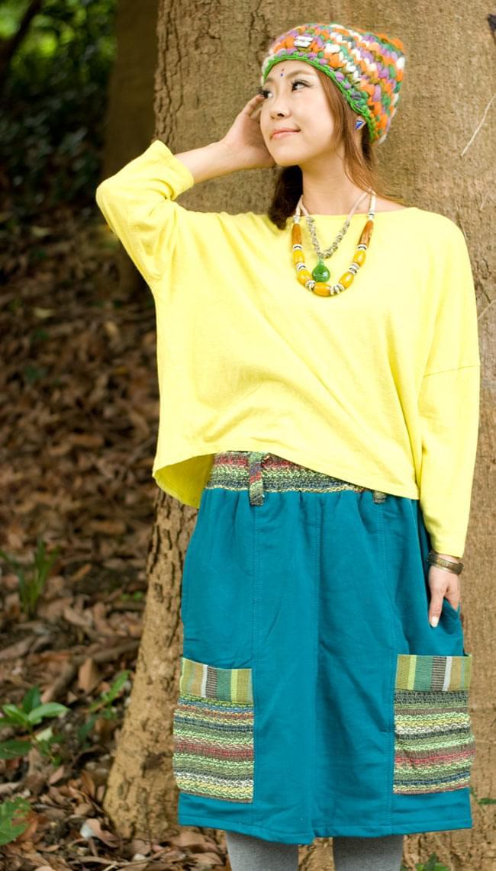 ネパールのカラフルポケットスカートの写真