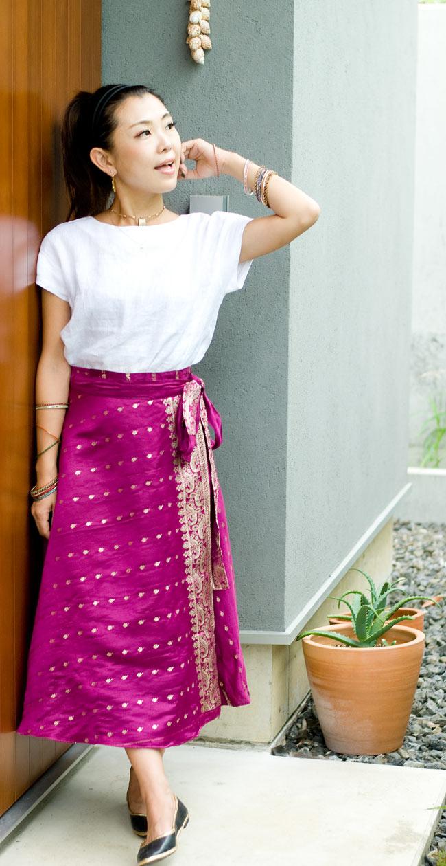 光沢布の刺繍巻きスカート 6 - F:パープル系