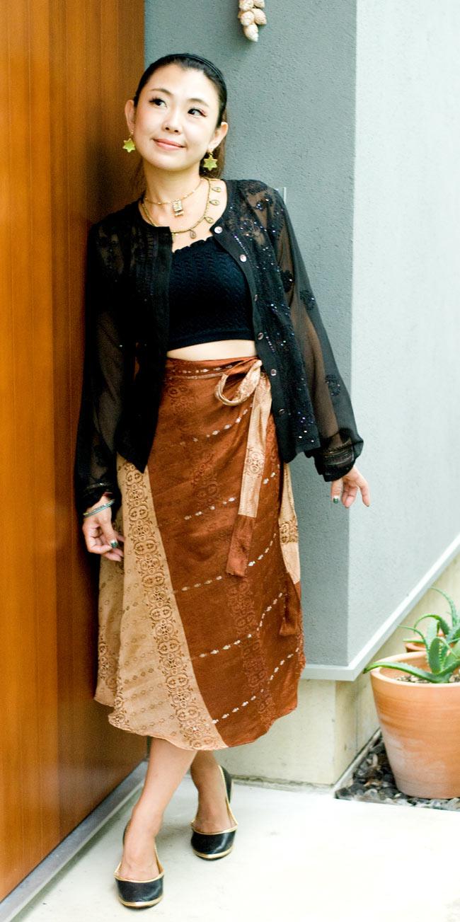 光沢布の刺繍巻きスカート 8 - H:茶・えんじ系