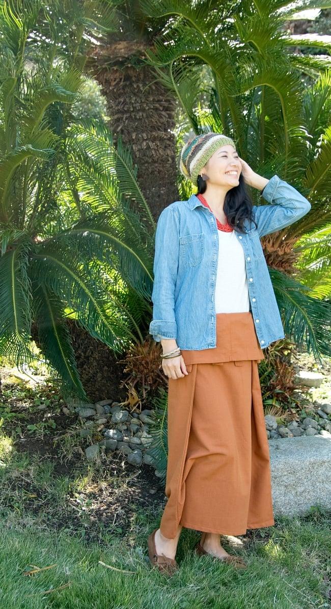 シンプルコットンタイスカート 【ロング】 2 - ウエストは、折り返して使えます。身長165cmの着用例になります。