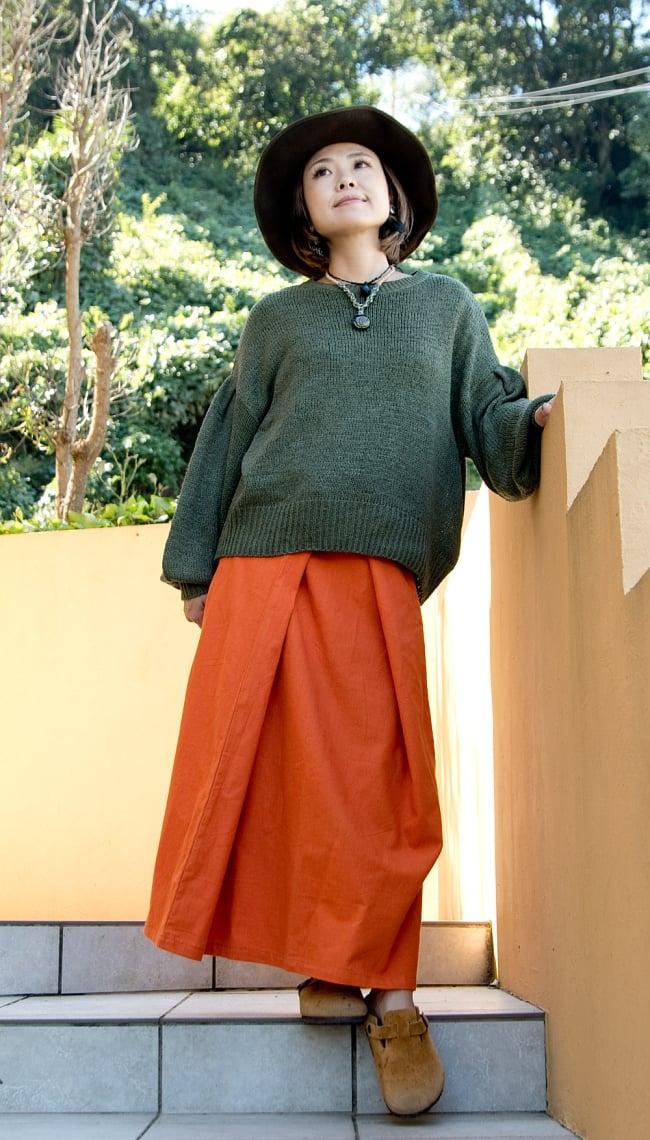 シンプルコットンタイスカート 【ロング】 3 - 身長152cmの着用例です。