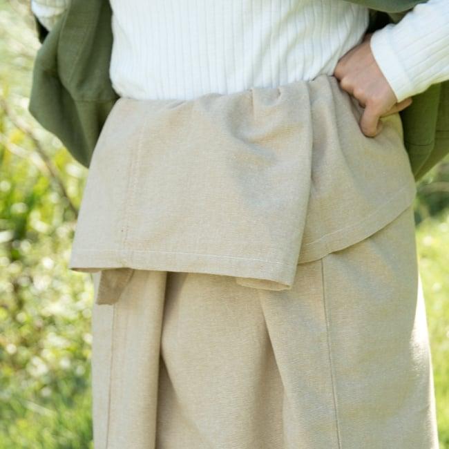 シンプルコットンタイスカート 【ロング】 5 - タイパンツのように紐で結んで折り返して履きます。