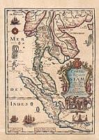 【17世紀】アンティーク地図ポスター[CARTE DU ROYAUME DE SIAM]【タイ及び、周辺諸国】