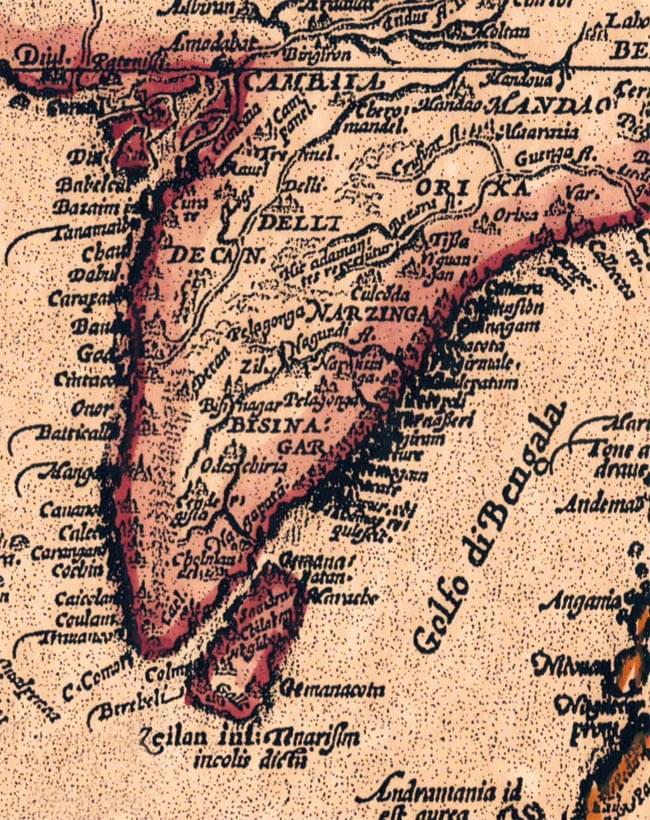 【16世紀】アンティーク地図ポスター[INDIAE ORIENTALIS]【南アジア・東アジア・東南アジア周辺】 3 - インド周辺を拡大してみました