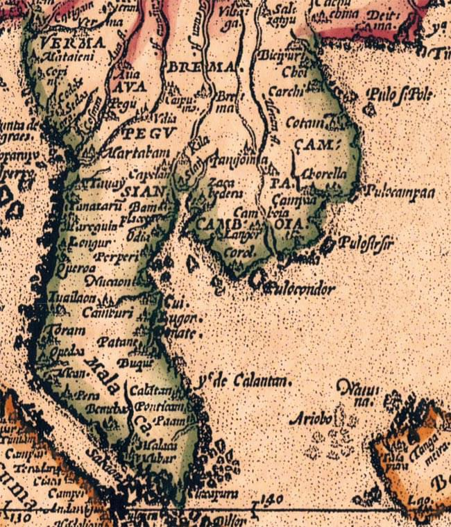 【16世紀】アンティーク地図ポスター[INDIAE ORIENTALIS]【南アジア・東アジア・東南アジア周辺】 4 - 東南アジア周辺の拡大写真です