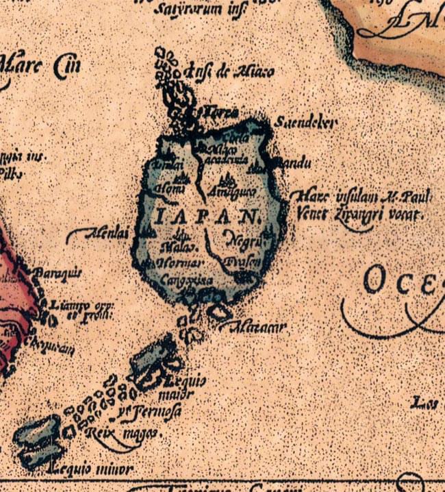 【16世紀】アンティーク地図ポスター[INDIAE ORIENTALIS]【南アジア・東アジア・東南アジア周辺】 5 - 少々丸っこいですが、日本もいます!1570年は、日本だと戦国時代の元亀元年。3年後には天下人が織田信長になる、そんな時代です。