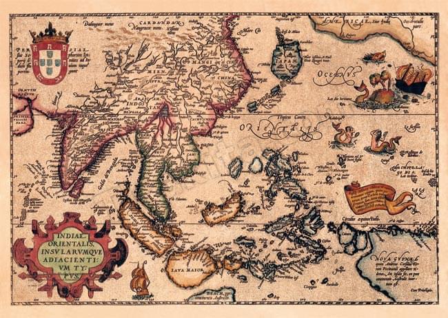 【16世紀】アンティーク地図ポスター[INDIAE ORIENTALIS]【南アジア・東アジア・東南アジア周辺】の写真