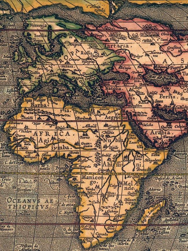 【16世紀】アンティーク地図ポスター[TYPVS ORBIS TERRARVM]【世界地図】 4 - ヨーロッパ・アフリカ大陸周辺を拡大してみました