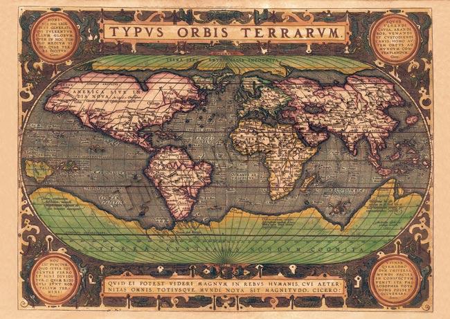 【16世紀】アンティーク地図ポスター[TYPVS ORBIS TERRARVM]【世界地図】の写真