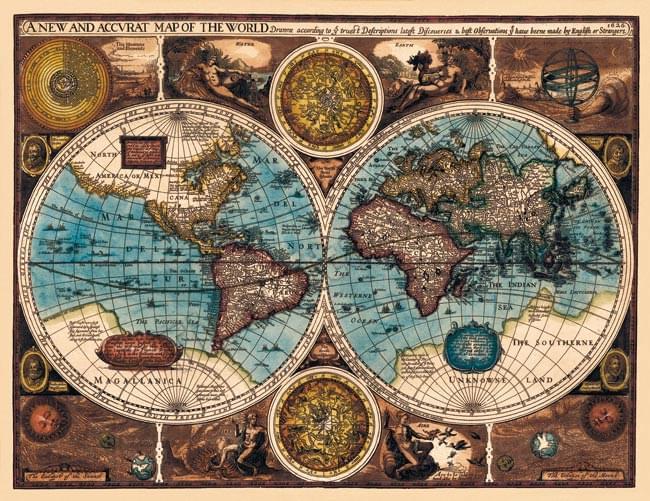 17世紀 アンティーク地図ポスター a new and accvrat map of the world