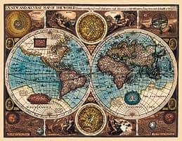 【17世紀】アンティーク地図ポスター[A NEW AND ACCVRAT MAP OF THE WORLD]【両半球世界地図】