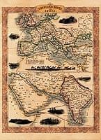 【19世紀】アンティーク地図ポスター[OVERLAND ROUTE TO INDIA]【ヨーロッパ・インド周辺】