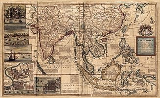【18世紀】アンティーク地図ポスター[A MAP OF EAST INDIES]【南アジア・東アジア・東南アジア周辺】