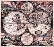 【17世紀】アンティーク地図ポスター[Nova Totius Terrarum Orbis Tabula]【両半球世界地図】