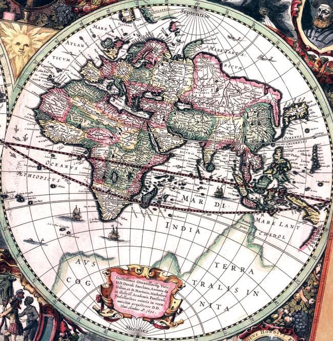 17世紀アンティーク地図ポスターnova Totius Terrarum Orbis Geographica Ac Hydrographica Tabula両半球世界地図