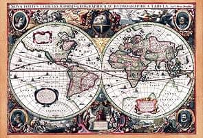 【17世紀】アンティーク地図ポスター[Nova Totius Terrarum Orbis Geographica Ac Hydrographica Tabula]【両半球世界地図】