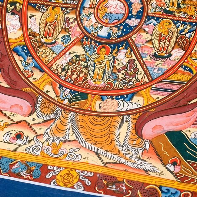 〔一点物〕タンカ -六道輪廻マンダラ(紺) 縦横37x30 5 - 別アングルです