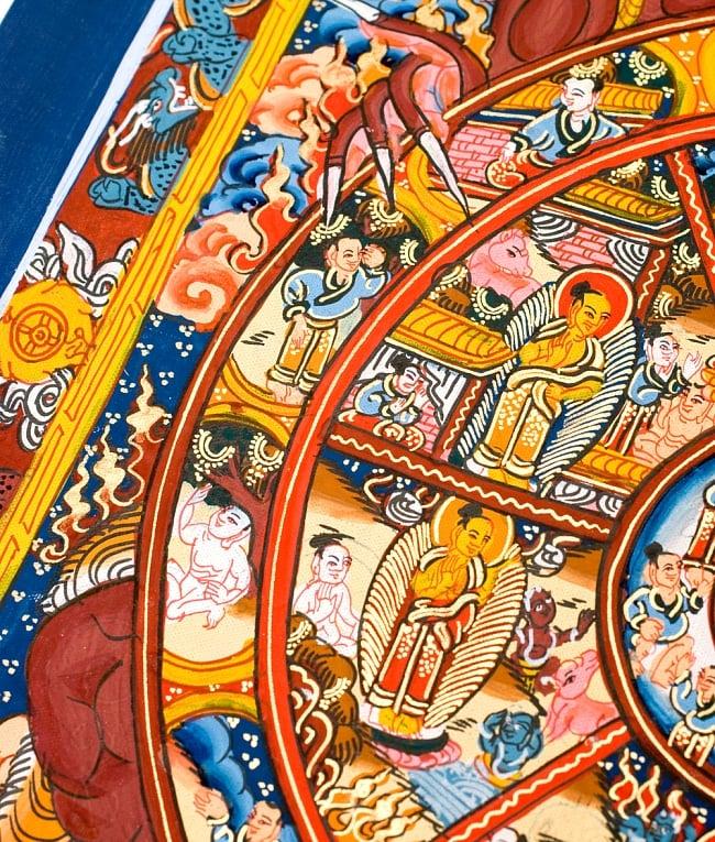 〔一点物〕タンカ -六道輪廻マンダラ(紺) 縦横37x30 6 - 別アングルです